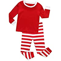 LUKEEXIN Kids Christmas Pajama Sets Baby Boy Girl Long Sleeve Santa Tops+Pants Outfit Christmas Clothes Set 2-8 Years Kids
