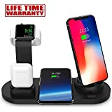 CREUSA® Wireless Charger, 3 in 1 Charging Station for Multiple Devices, Charging Dock for AirPods, Watch Stand for Apple Watch, Qi Fast Wireless Charging Stand Compatible for Samsung Galaxy S10/S10+/S9/S9+/S8/S8+/Note 9/Note 8, iPhone Xs Max/Xs/XR/X/8/8 Plus and All Qi-Enabled Devices
