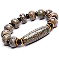 ZenBless Natural Green Tibetan 9/3 Eye Dzi Beads Bracelet Fengshui Amulet Bangle Attract Positive Energy and Good Luck