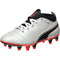 PUMA Boys Puma One 17.4 Fg Jr Wht-Blk-Fi, White, Football boots