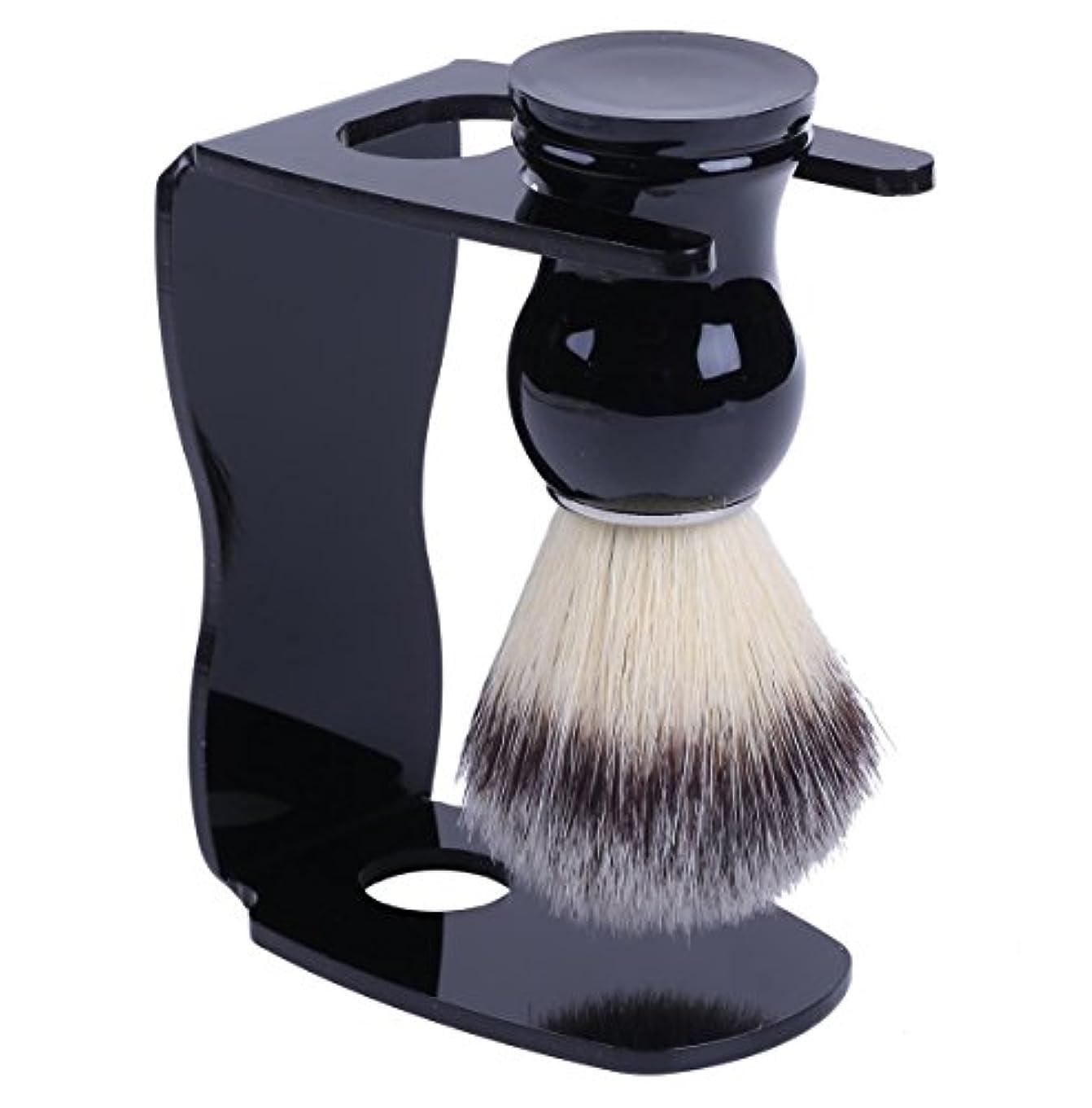 談話ブレース誇大妄想泡立ちが違う アナグマ 毛100% スタンド付き シェービング ブラシ /髭剃り 洗顔 理容 マッサージ 美容 効果