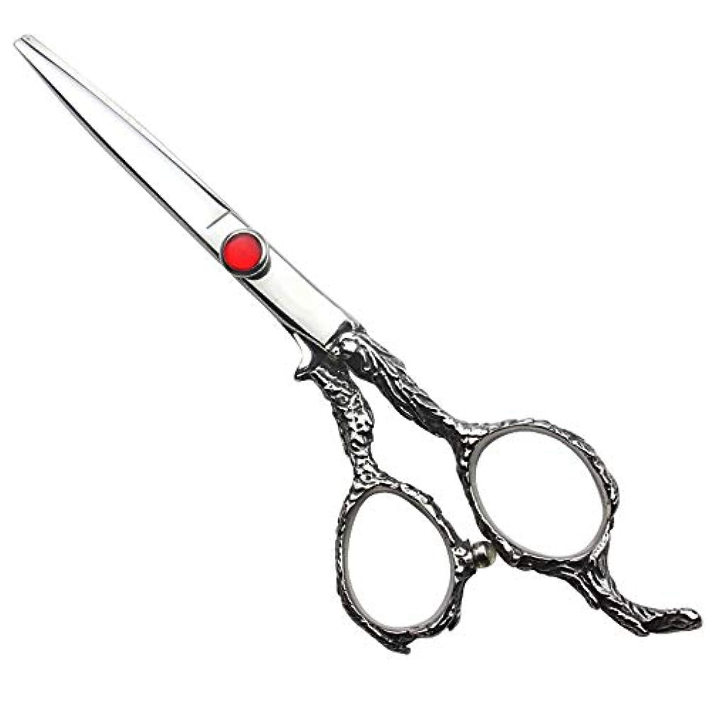 冊子士気リーク家族6インチの理髪はさみ、美容院の専門のヘアカットの直線はさみ ヘアケア (色 : Silver)