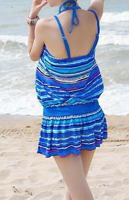 『ladyswim-2007 レディース ワンピース 水着 3点セット セパレート リボン 海水浴 プール 海外旅行 バカンス フィットネス 水泳 温泉 プール カラフル 水着/みずぎ/ミズギ (L, ブルー)』の2枚目の画像