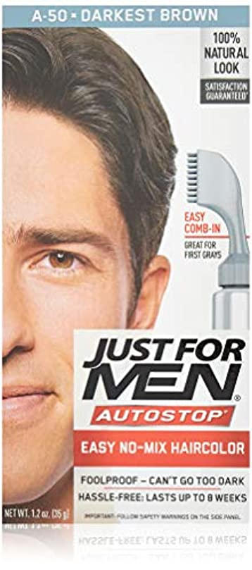 靄ピンポイント沿ってJust for Men オートストップヘアカラー - ダーケスト?ブラウンA-50ヘアカラー男性1つのアプリケーション(3パック)