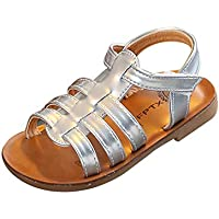 Weixinbuy Little Kid Toddler Baby Girls Soft Sole T-Strap Open Toe Summer Sandal Shoes Flat