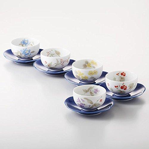 花しらべ 茶托付煎茶揃 5客湯呑セット 美濃焼