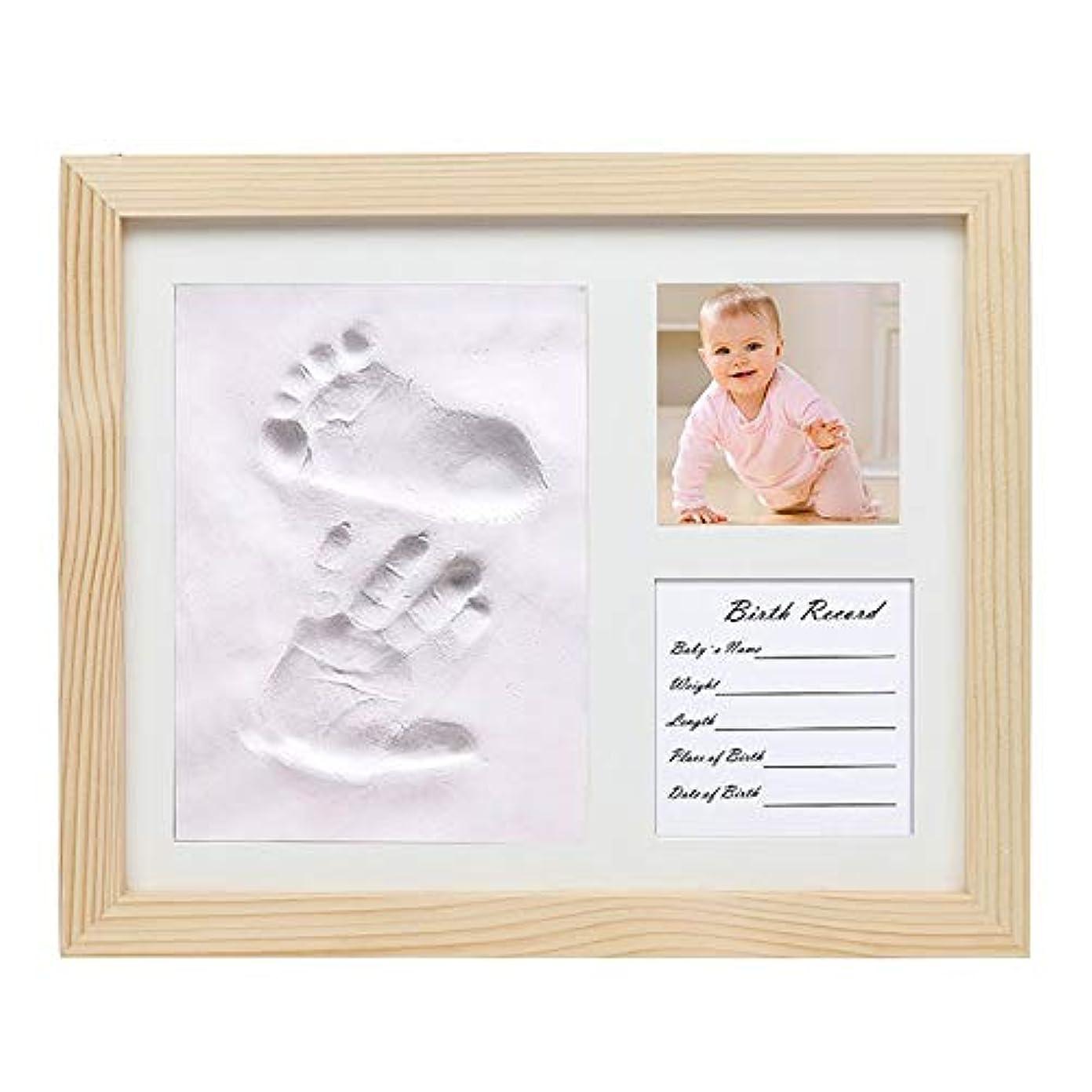 主流ビジョン列挙する赤ちゃん 手形 足形フレーム 新生児安全なメモリーインクパッドパーフェクト記念品ギフトのための新しい親との大切な赤ちゃんの手形&フットプリントフォトフレームキット 出産祝いの用品に最適です (Color : Wood color, Size : 28x23x2cm)