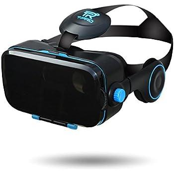 【 最新版 Version2】T-PRO 3D VRゴーグル スマホ最新型 iphone X/android 各種対応 3D イヤホン一体型 4.0~6.0インチ