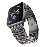 Apple Watch 金属ベルト Evershop 44mm 42mm ステンレス アップルウォッチ ベルト ビジネス風 時計バンド アップルウォッチ バンド 腕時計ストラップ バンド調整 series 1 series 2 series 3 series 4 series 5対応 (44mm 42mm, ブラック) apple watch5 バンド