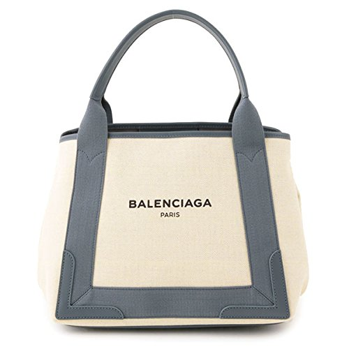 BALENCIAGA バレンシアガ 339933 AQ38N NAVY CABAS S キャンバス トートバッグ ハンドバッグ カラー1381/オフホワイト×ブルーグレー [並行輸入品]
