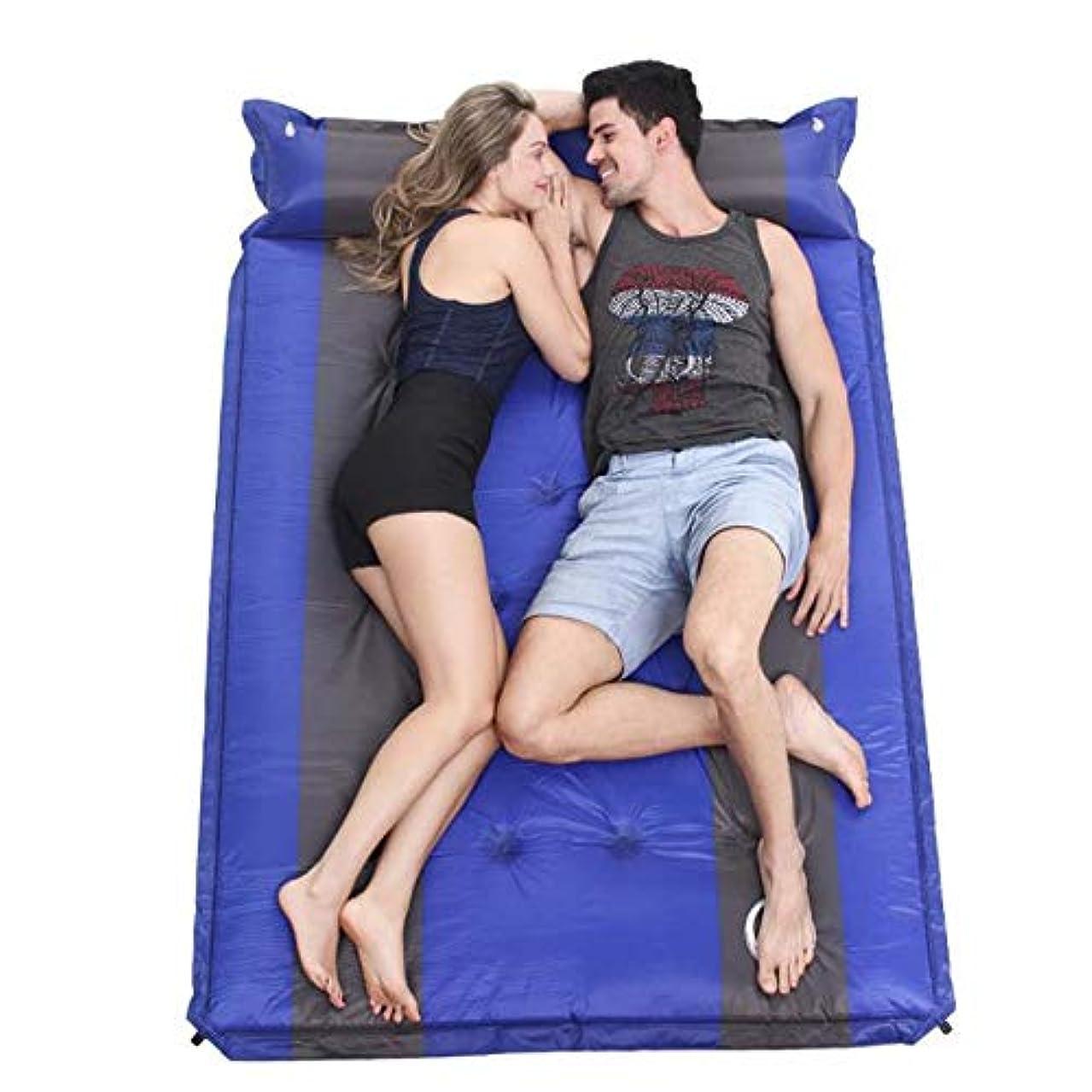 アーティキュレーション遷移表向き2人の人の膨脹可能な屋外のエアマットレスの防水自己膨脹可能な二重キャンプの睡眠パッドのための付属の枕ライト級選手が付いている密集した泡 (色 : 青, サイズ : 74.8*51.2*1.38inches)