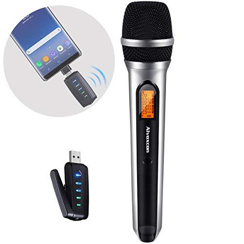 USBワイヤレスマイク、Alvoxcon UHF 手持ち 無線 マイクセット PC (Mac/Windows)、Android フォン、 ノートパソコン、動画撮影、録音などのシーン