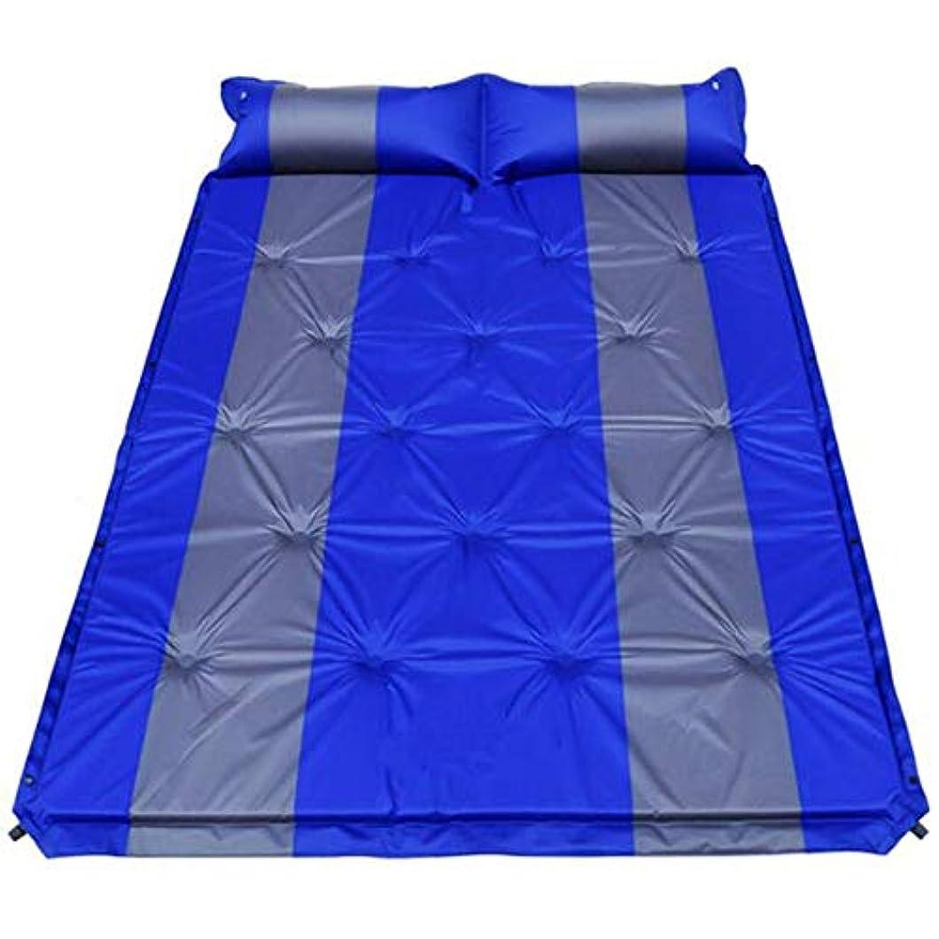 アンテナ考えるところで付属の枕付き防水軽量ダブルサイズ2人用インフレータブル屋外マットレスエアセルデザイン自己膨脹式コンパクトフォームキャンプスリーピングパッド (色 : 青, サイズ : 75.6*52.7*1.18inches)