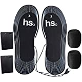 SUPVOX Thermal Soles USB Heated Rechargeable Electric Shoes Heater Winter Warm Insole No Battery 1 Pair (Black)