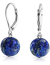 Simple Blue Lapis Lazuli Gemstone Round Dangle Leverback Ball Drop Earrings For Women 925 Sterling Silver