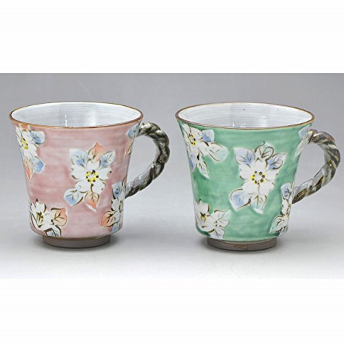 京焼・清水焼 陶器 ペアマグカップ 青桃濃桜 紙箱入 Kiyomizu-kyo yaki ware. Set of 2 Japanese mug cup aomomodamisakura with paper box. Ceramic.