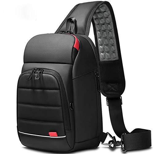 ボディバッグ メンズ ワンショルダーバッグ USB充電ポート搭載 斜めがけ 旅行カバン 防水 iPad収納可能(ブラック)