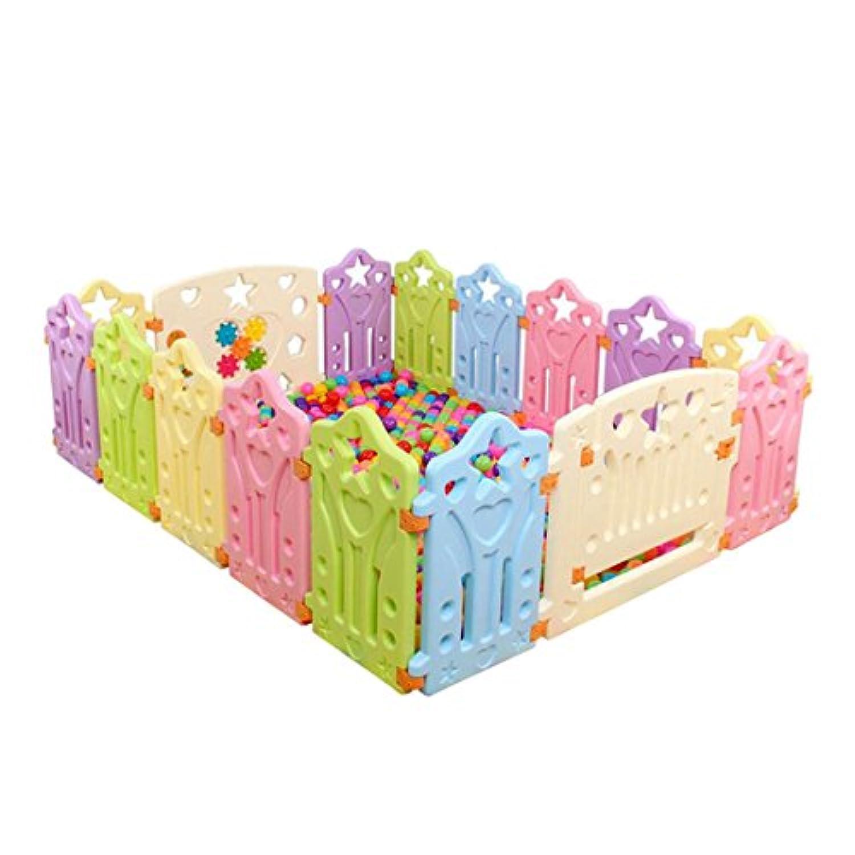 Freahap ベビーサークル プレイヤード ベビールーム パネルセット おもちゃ 組み立て簡単 赤ちゃん 幼児 5ヶ月-6歳 色ランダム 14+1+1