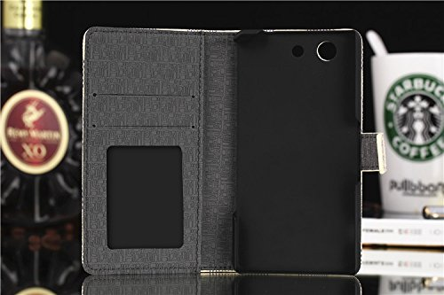 SpiritSun Sony Xperia Z3 compact ケース チェック柄 「docomo SO-02G」 ソニー エクスペリア ゼット 3 Compact 対応 グリッド(格子柄)・スタイル ビジネス専用保護 横開き Xperia Z3 compact カバー 手帳型 ノートタイプ 財布型 良質PUレザー カード収納ホルダー ・スタンド機能 マグネット式 軽量 防塵 薄型 柔らかな材質 シンプルデザイン タッチペン「グレー」