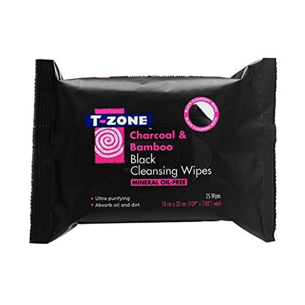 山積みのワイプ全員[T-zone] Tゾーン木炭&竹ブラッククレンジング25Sを払拭します - T-Zone Charcoal & Bamboo Black Cleansing Wipes 25s [並行輸入品]