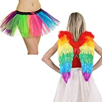 Womens Rainbow Angel Wings 3 Layers Tutu Skirt Ladies Gay Pride Party Costume