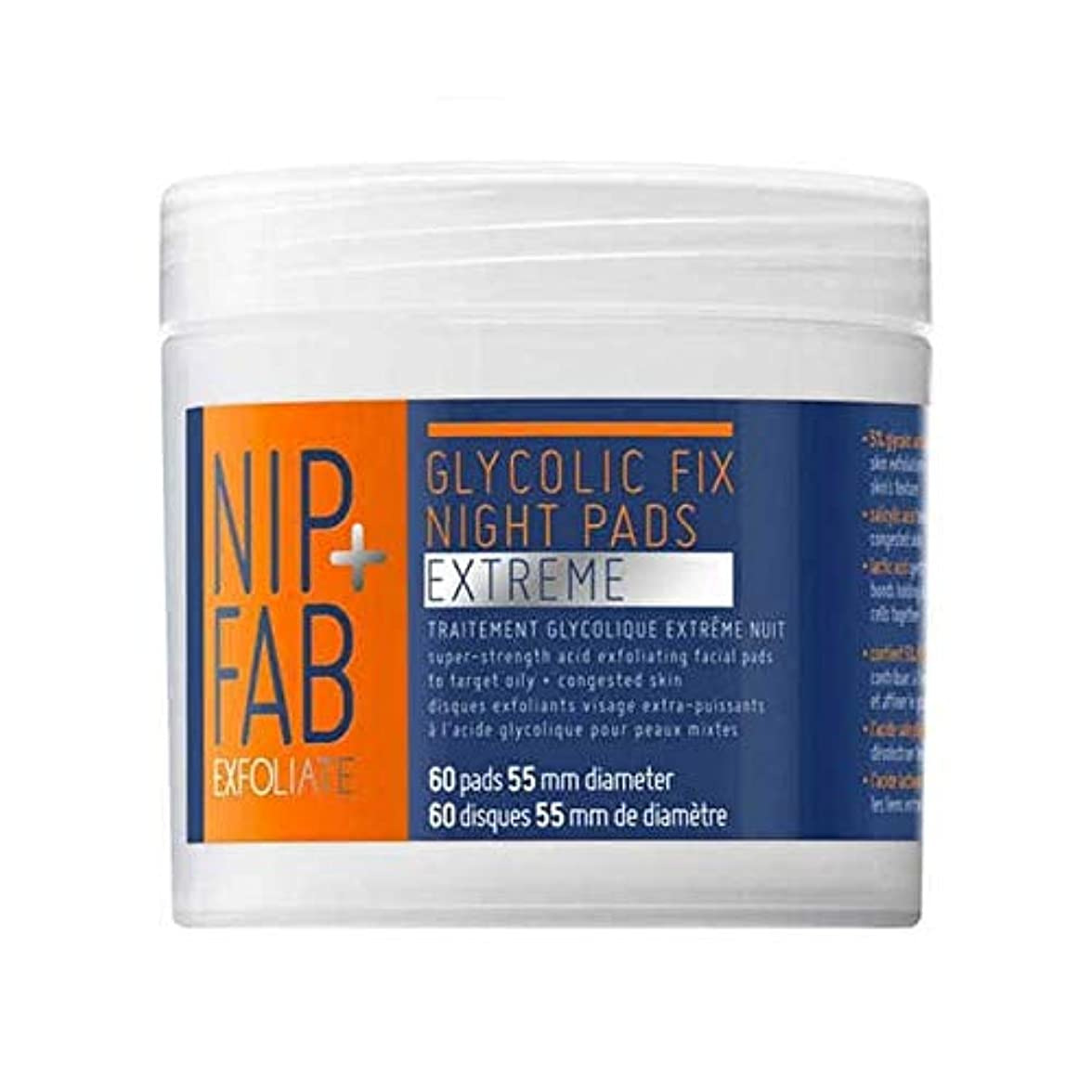 適合闇暖かく[Nip & Fab] + Fabグリコール修正極端パッド80ミリリットルニップ - Nip+Fab Glycolic Fix Extreme pads 80ml [並行輸入品]