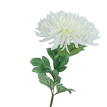 一輪 菊 仏花 造花 仏壇用 お供え お盆 本物そっくりの仏花 -Tsururu JP (一輪 白)