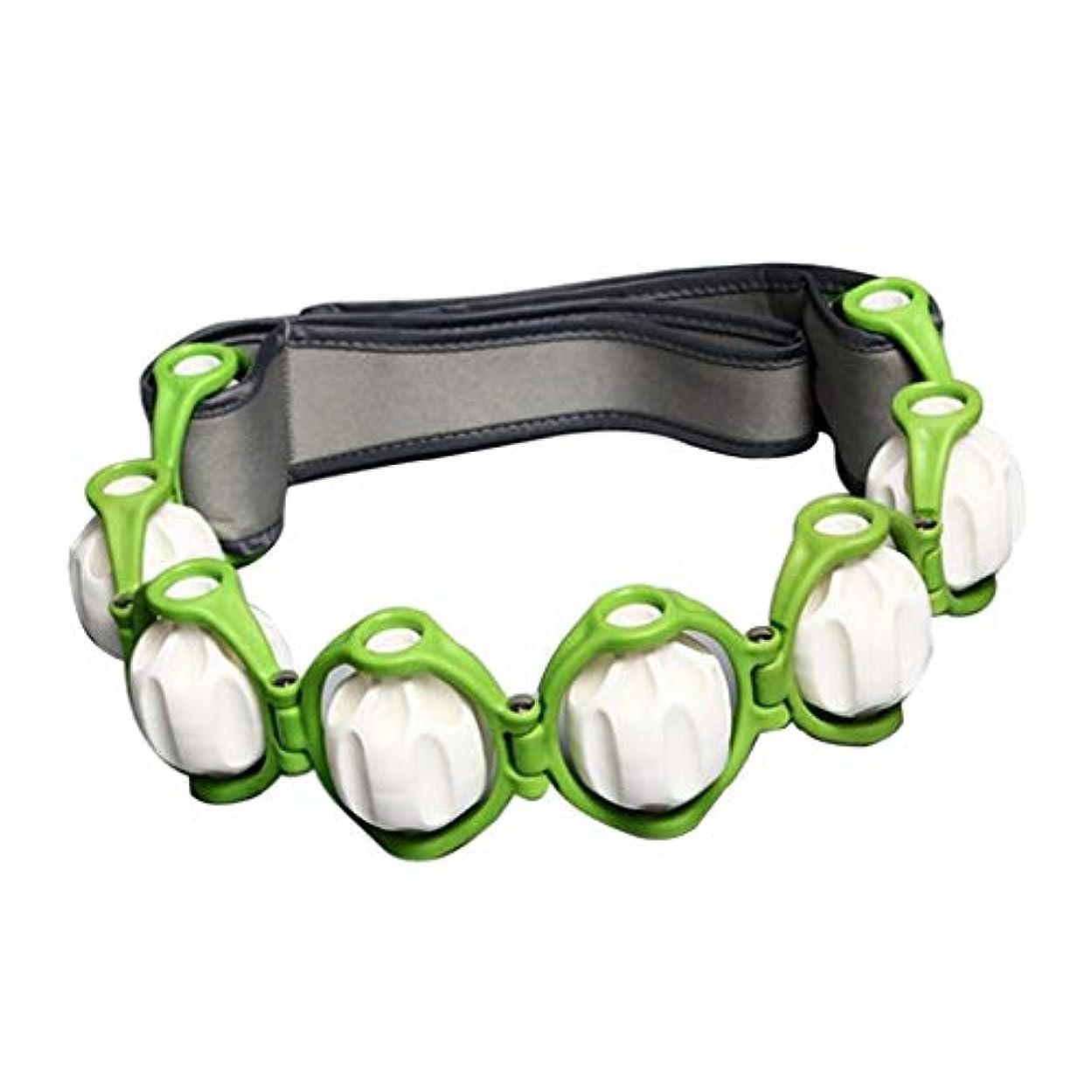 知人手段サンドイッチボディマッサージローラー ロープ付き 六つボール 4色選べ - 緑, 説明したように