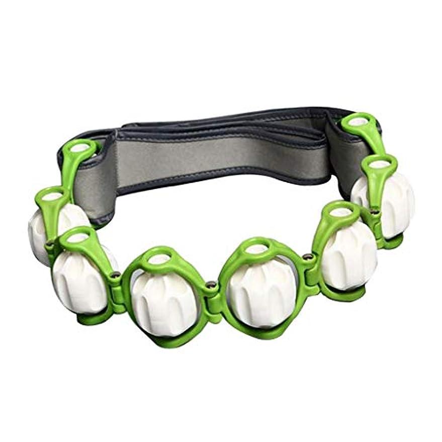 巻き取りすごいもちろんFLAMEER ボディマッサージローラー ロープ付き 六つボール 4色選べ - 緑, 説明したように