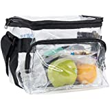 Medium Clear Lunch Bag Lunch Box with Adjustable Strap and Front Storage Compartment