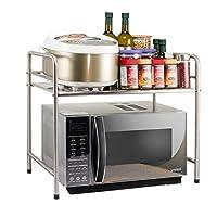家庭用ステンレススチールキッチン収納棚、電子レンジラック収納ラックキッチン用品、53 * 36 * 52cm (色 : シルバー しるば゜)