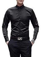 maweisong メンズロングスリーブシムフィットピュアカラーダウンカラードレスシャツ Black XL