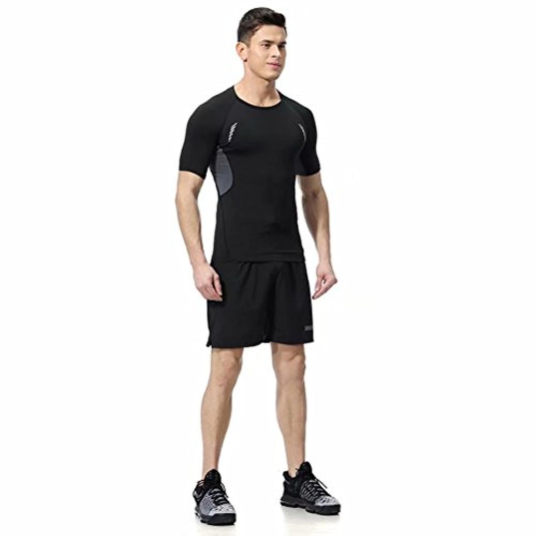 Kayiyasuジャージ上下セット メンズ Tシャツ トレーニングウエア 半袖 ジム 練習着 吸汗速乾 008-sgt-l05(2XL グレー)