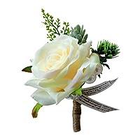 ロマンチックな結婚式のバラの花のコサージュ新郎ベストマンブートニエールパーティーの装飾 - シャンパン