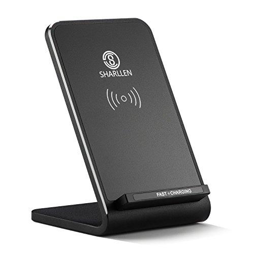 Qi ワイヤレス充電器 3つのコイル 急速充電 ワイヤレスチャージャー スタンド型 10W/7.5W急速 置くだけ充電 iPhone X/XS/XS Max/XR/ 8/8 Plus、GalaxyS9 / S9+ / S8 / S8+、Nexus、HUAWEI Mate Rs等 その他Qi対応機種 USBケーブル付き 日本語説明書付き by Sharllen (ブラック)