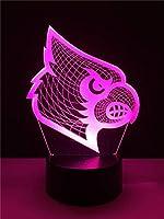 L2eD 3D LEDランプ テーブル ナイトライト 7色変化ライト マルチカラータッチボタン付き アクリル電源 USBバッテリー ギフト キッズ ブラック オウムヘッド