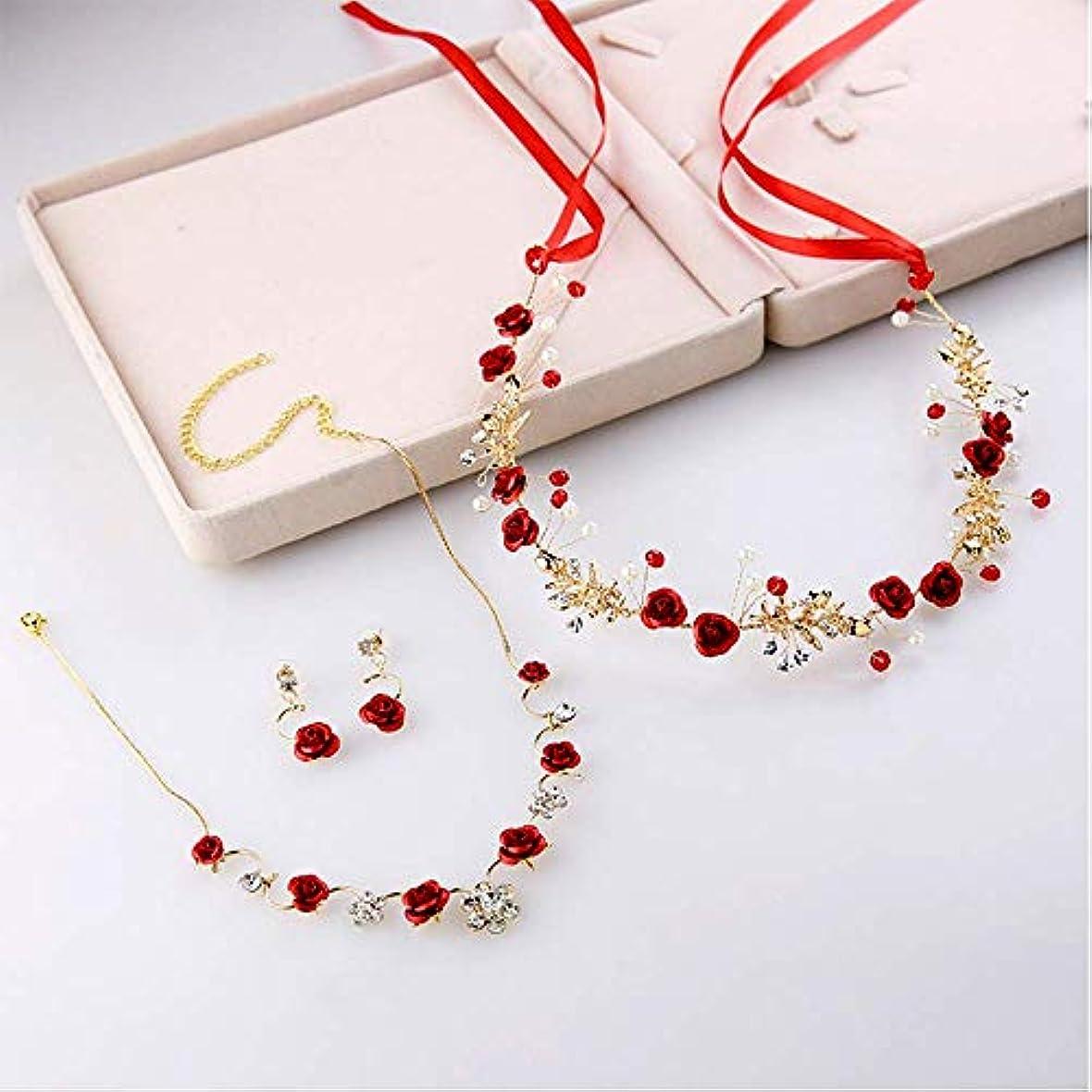 送った誇張リクルートブライダルティアラ中国の結婚式赤いバラの花シンプルなソフトチェーンジュエリートースト服アクセサリー
