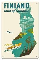 22cm x 30cmヴィンテージハワイアンティンサイン - フィンランド - ロマンスの国 - フィヨルドのクルーズ船 - ビンテージな世界旅行のポスター によって作成された ヘルゲ・メーテル=ボリィストレーム c.1950
