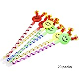 20 Pieces, Smiley face, Whistle, Cheerleader Whistle, Row of Props, Cheering Props, Blowing Children's Toys, Party Whistle,A+a