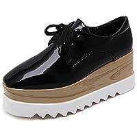 Women's Platform Shoes Low-Top Casual Shoes PU Retro Square Head Shoes Wedge Shoes Outdoor Walking Shoes Black Beige,Black,39