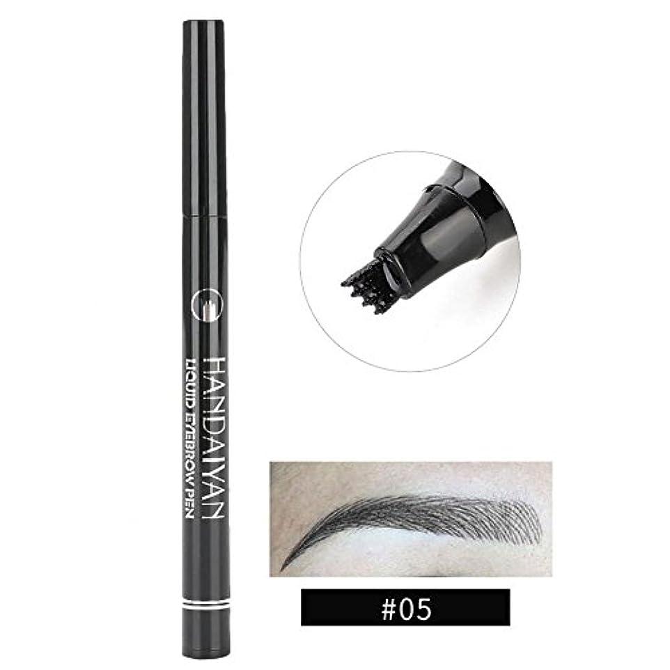 洗練クローン日常的に防水眉ペン、液体 長持ち 液体眉毛タトゥーペン 眉毛エンハンサー メイクアップペン(5)