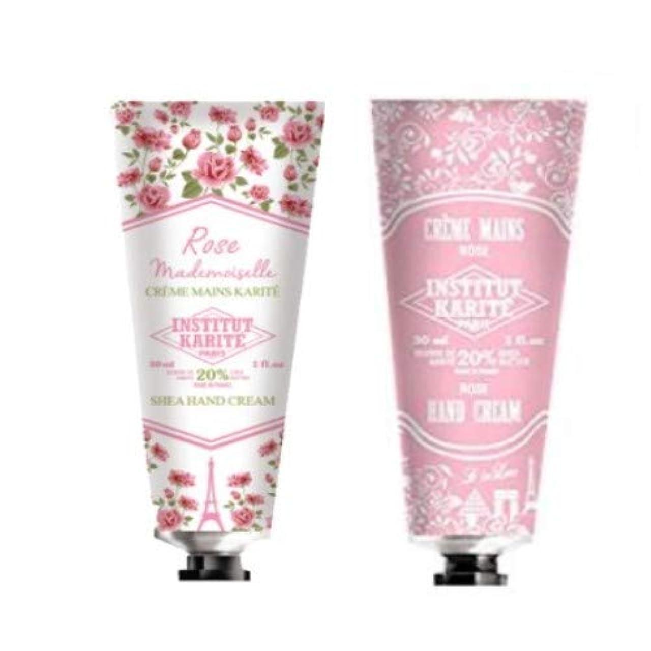 突然取り出す現像シアバター シアハンドクリーム INSTITUT KARITE カリテ Rose Mademoiselle ローズマドモアゼル ハンドクリーム 30ml&Rose ローズハンドクリーム 30ml セット