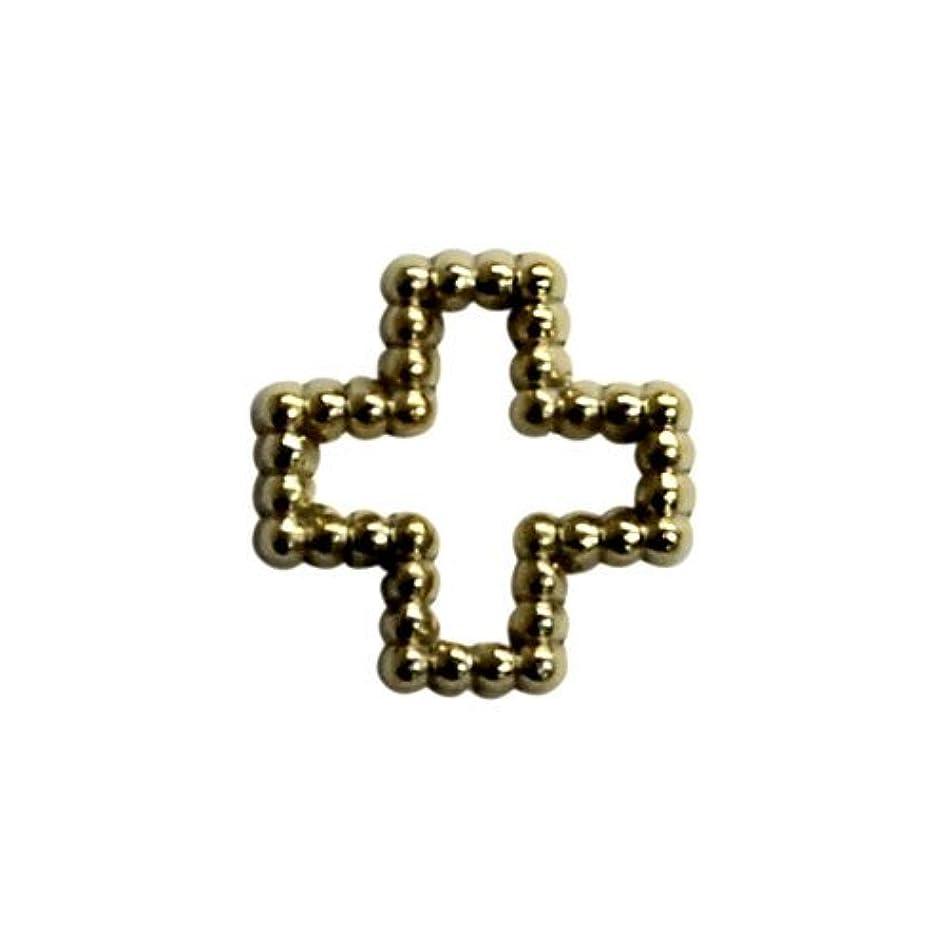 精算トランスペアレント計画プリティーネイル ネイルアートパーツ ブリオンクロスM ゴールド 12個