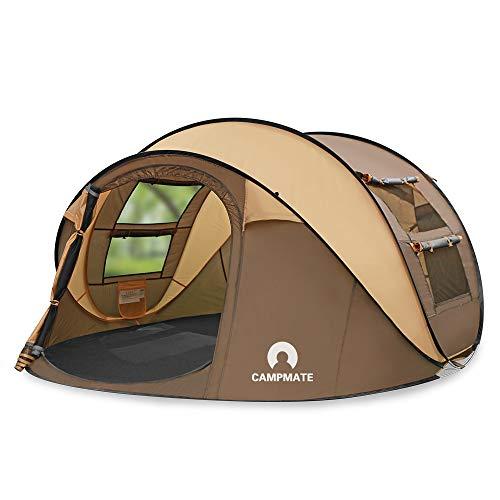 STARHOMEキャンプ用自動屋外ポップアップテント防水用クイックオープニングテントキャリングバッグ付き4人用キャノピー (ブラウン)