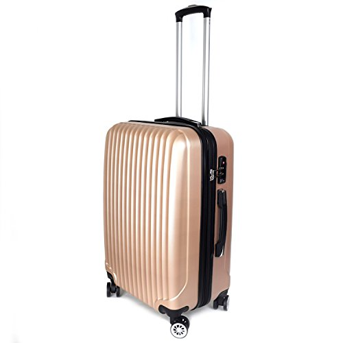 【神戸リベラル】LIBERAL 軽量スーツケース キャリーバッグ 容量アップ 8輪キャスター TSAロック付き (Sサイズ(1-3泊用 40/50L), ゴールド)