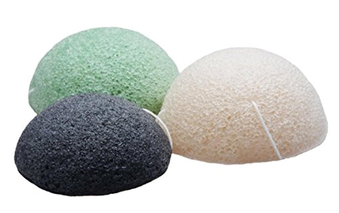 ひもオーロック意義Sinland こんにゃくスポンジ 蒟蒻洗顔マッサージパフ 3色セット 乳白 緑茶 竹炭