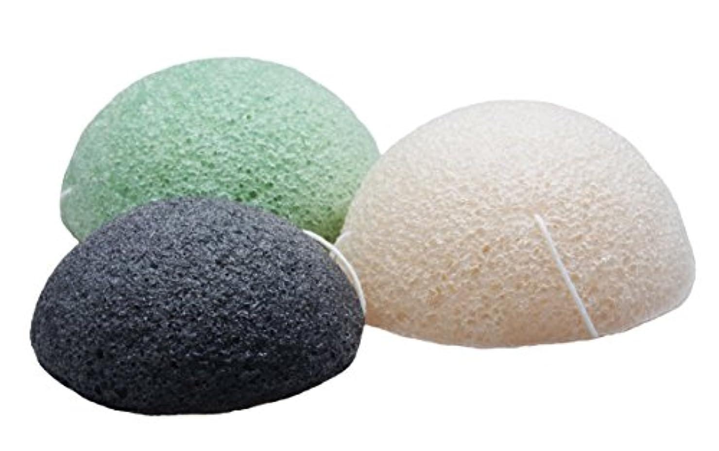 Sinland こんにゃくスポンジ 蒟蒻洗顔マッサージパフ 3色セット 乳白 緑茶 竹炭