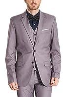 Hanayome メンズスーツ スリーピース スリムスーツ カジュアル 防シワ チェック柄 大きいサイズ 紳士 礼服 3点セット SI106 (グレー,36)