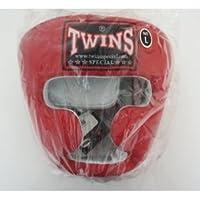 新TWINS ツインズ 本革製キックボクシングヘッドギア ヘッドガード 赤 XLサイズ LL