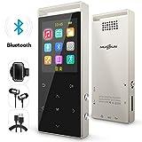 MP3プレーヤー Bluetooth対応 8GB ウォークマン 音楽プレイヤー FMラジオ デジタルオーディオプレーヤー HIFI超高音質 合金製 1.8イン多彩スクリーン マイクロSDカード対応 歩数計 アームバンド付き ゴールド